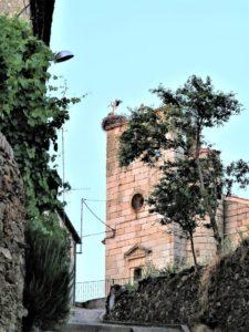 Mientras tanto, y afortunadamente para ellas, las cigüeñas siguen danzando, ajenas a la mina, en la torre de la iglesia de Perniculás./ Foto J.M.