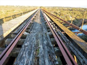 Puente sobre el río Yeltes del ferrocarril abandonado a Portugal./ Foto J.M.